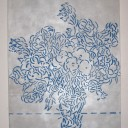 mike vegas dommermuth, 2012, Flowers in a vase (blue and  silver), acrylic on canvas, 48%22 x 36%22