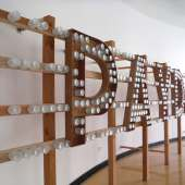 Mike Vegas Dommermuth, -Payday-, 2014, wood and glass, 30' x 8', (angle)